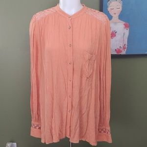 Free People M flowy coral blouse long sleeve